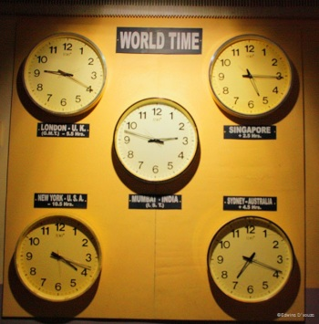 World Clocks at the entrance