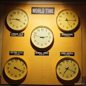 World Clocks at the entrance
