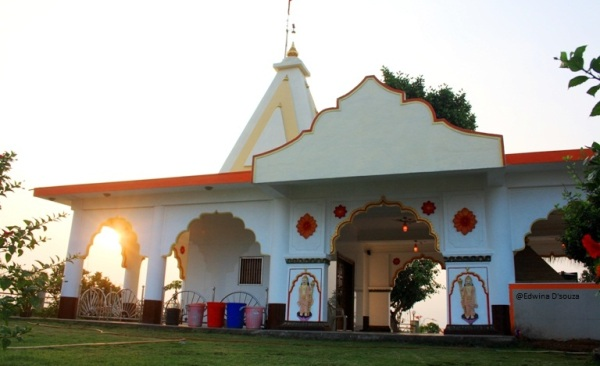 side view of temple captured along with sunrise