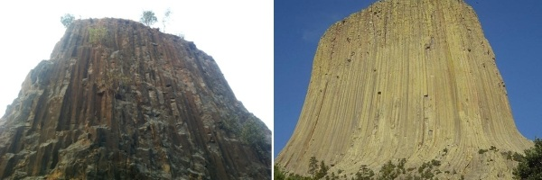 (Left) Gilbert Hill; (Right) Devils Tower, Wyoming