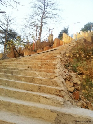 Steep Stairway leading to Gaondevi temple on Gilbert Hill