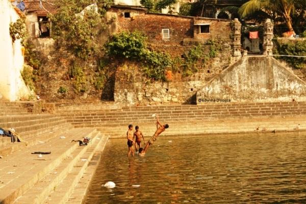 Kids playing in the water at Banganga