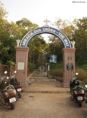 Entrance to Miraculous cross in Anjuna