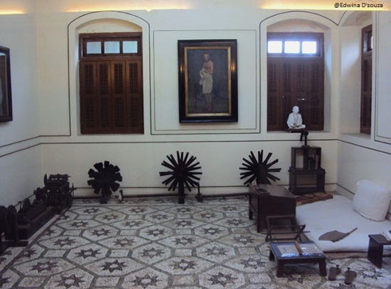 The room with Gandhi's  famous Charkha