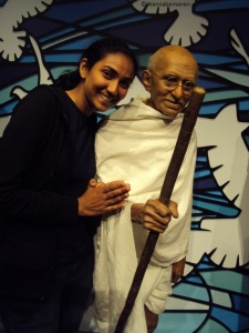 thats me with Mahatma Gandhi at the Madame Tussauds in London