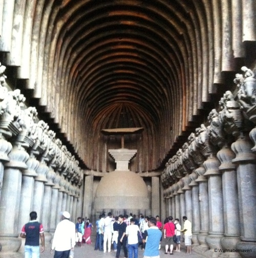 Chaitya-griha inside Karla Caves