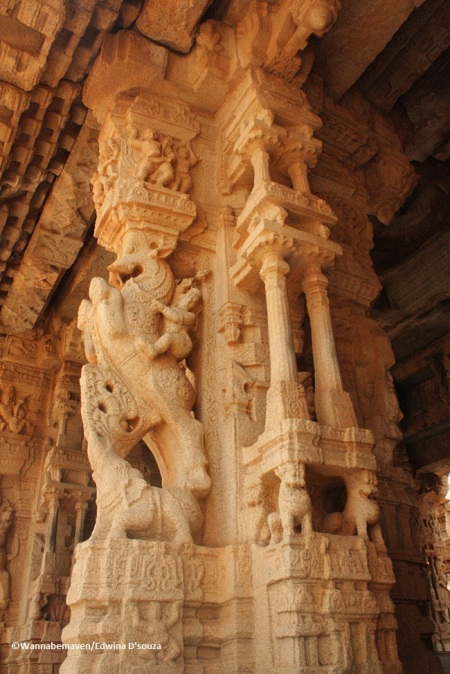 Carved pillars - Hampi